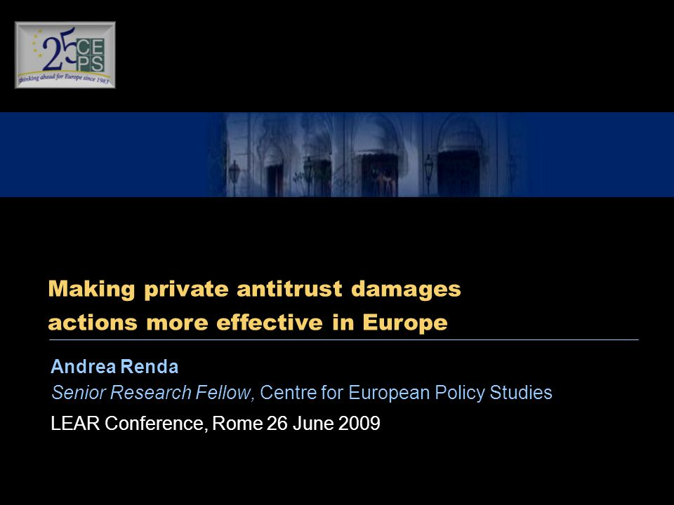 Andrea Renda Senior Research Fellow, Centre for European Policy Studies LEAR Conference, Rome 26 June 2009 Making private antitrust damages actions more effective in Europe
