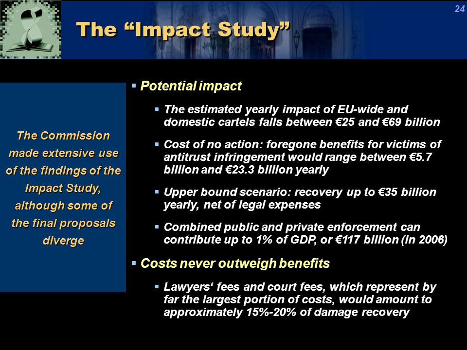 The Impact Study The Commission made extensive use of the findings of the Impact Study, although some of the final proposals diverge  Potential impact  The estimated yearly impact of EU-wide and domestic cartels falls between €25 and €69 billion  Cost of no action: foregone benefits for victims of antitrust infringement would range between €5.7 billion and €23.3 billion yearly  Upper bound scenario: recovery up to €35 billion yearly, net of legal expenses  Combined public and private enforcement can contribute up to 1% of GDP, or €117 billion (in 2006)  Costs never outweigh benefits  Lawyers' fees and court fees, which represent by far the largest portion of costs, would amount to approximately 15%-20% of damage recovery 24