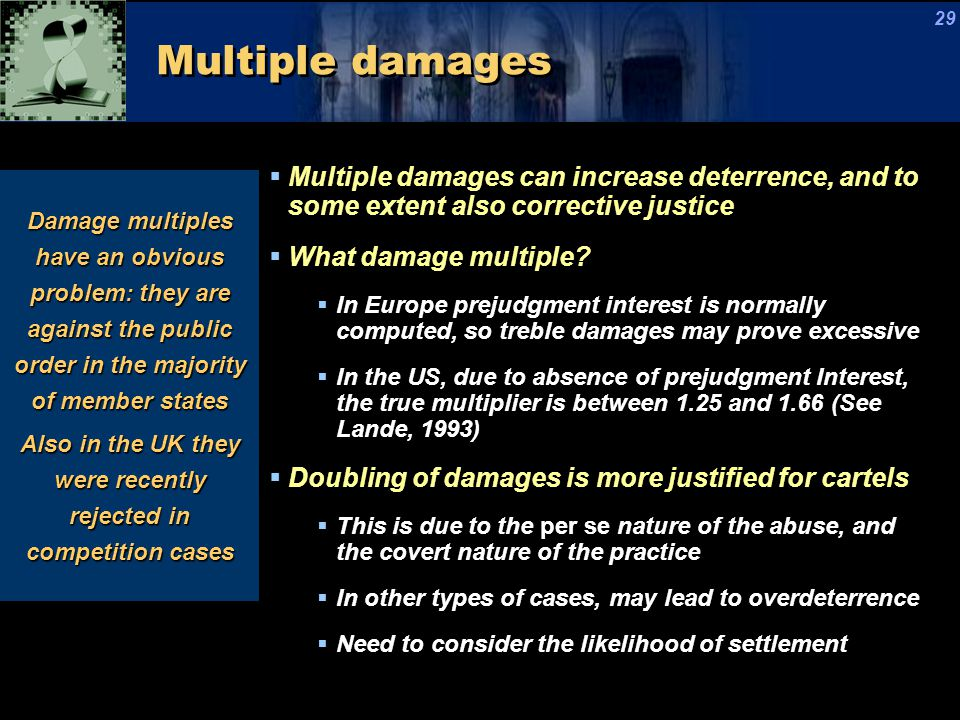 Multiple damages  Multiple damages can increase deterrence, and to some extent also corrective justice  What damage multiple.