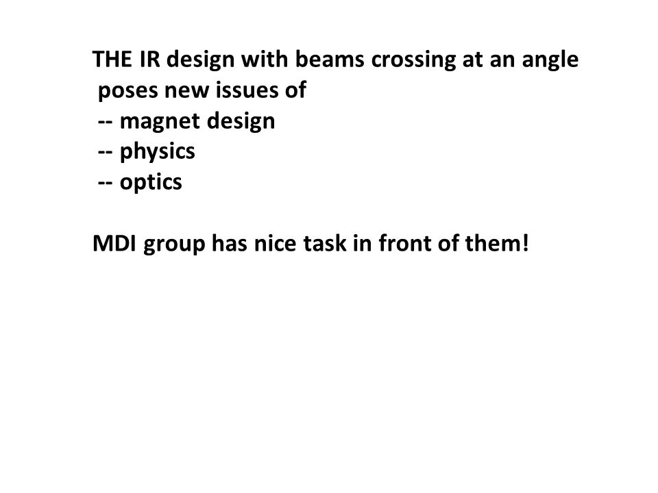 THE IR design with beams crossing at an angle poses new issues of -- magnet design -- physics -- optics MDI group has nice task in front of them!
