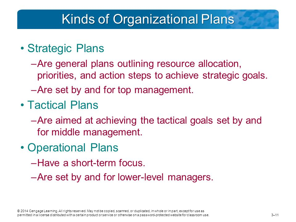 Kinds of Organizational Plans Strategic Plans –Are general plans outlining resource allocation, priorities, and action steps to achieve strategic goals.