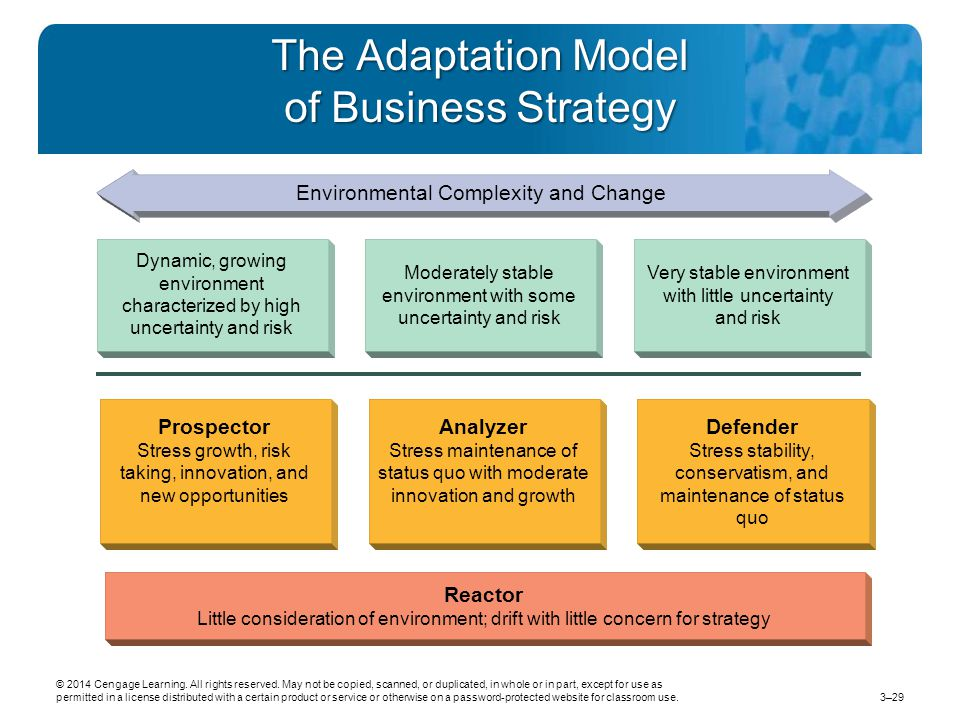 The Adaptation Model of Business Strategy Environmental Complexity and Change Dynamic, growing environment characterized by high uncertainty and risk Moderately stable environment with some uncertainty and risk Very stable environment with little uncertainty and risk Prospector Stress growth, risk taking, innovation, and new opportunities Analyzer Stress maintenance of status quo with moderate innovation and growth Defender Stress stability, conservatism, and maintenance of status quo Reactor Little consideration of environment; drift with little concern for strategy © 2014 Cengage Learning.