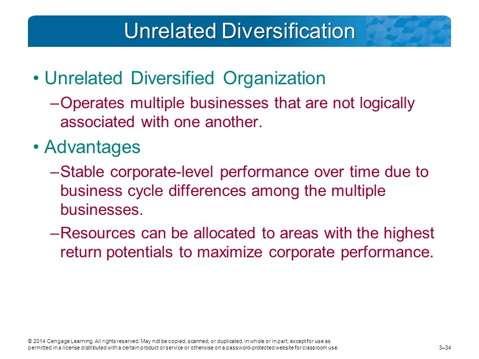 Unrelated Diversification Unrelated Diversified Organization –Operates multiple businesses that are not logically associated with one another.