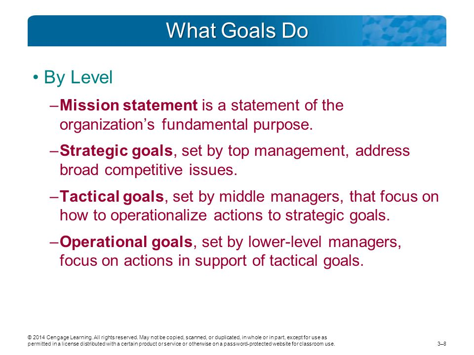 What Goals Do By Level –Mission statement is a statement of the organization's fundamental purpose.