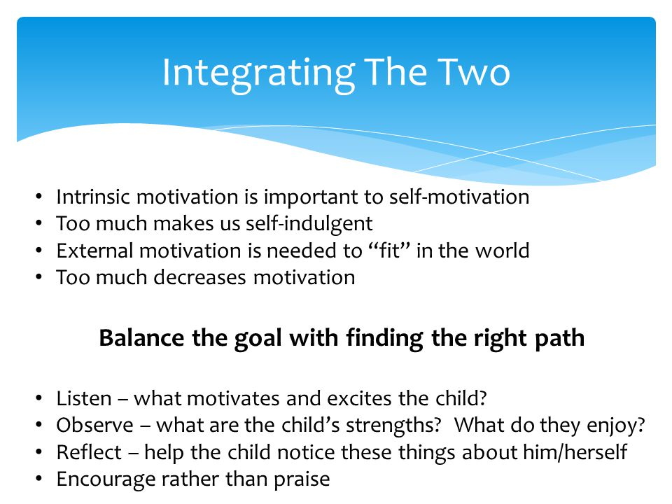 Integrating The Two Intrinsic motivation is important to self-motivation Too much makes us self-indulgent External motivation is needed to fit in the world Too much decreases motivation Balance the goal with finding the right path Listen – what motivates and excites the child.