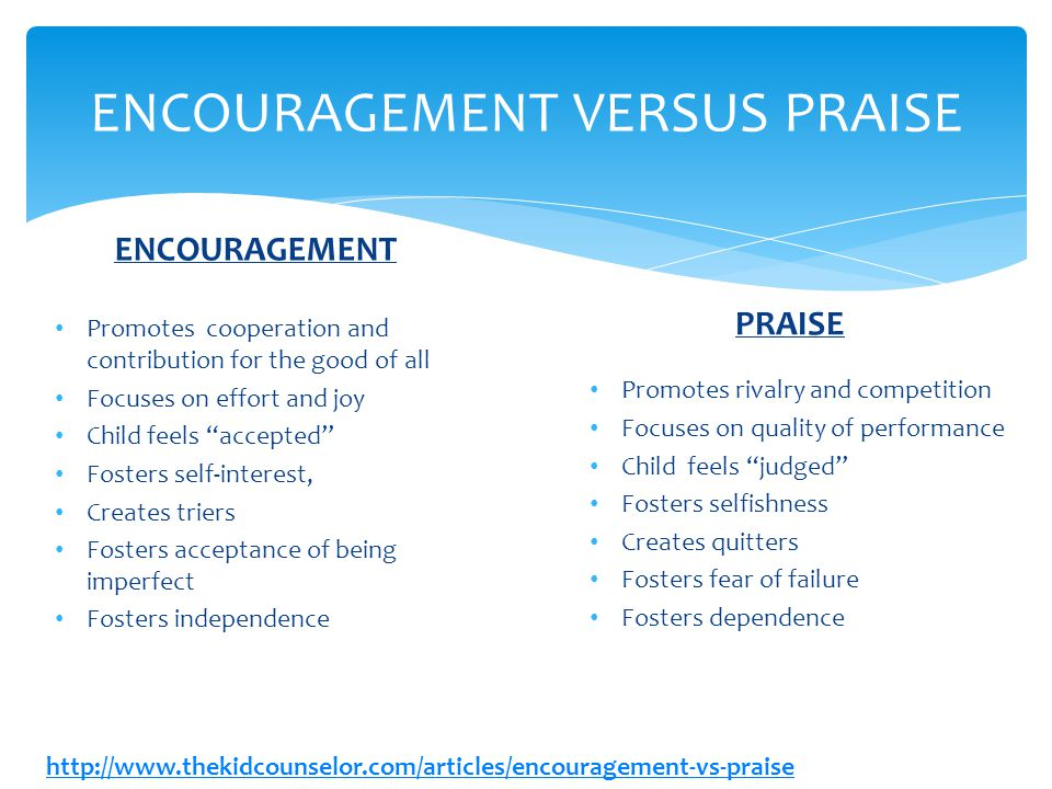 ENCOURAGEMENT VERSUS PRAISE PRAISE Promotes rivalry and competition Focuses on quality of performance Child feels judged Fosters selfishness Creates quitters Fosters fear of failure Fosters dependence ENCOURAGEMENT Promotes cooperation and contribution for the good of all Focuses on effort and joy Child feels accepted Fosters self-interest, Creates triers Fosters acceptance of being imperfect Fosters independence http://www.thekidcounselor.com/articles/encouragement-vs-praise