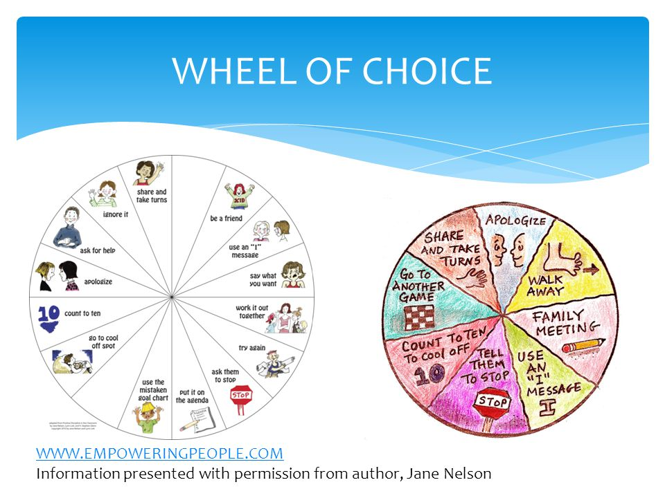 WHEEL OF CHOICE WWW.EMPOWERINGPEOPLE.COM Information presented with permission from author, Jane Nelson