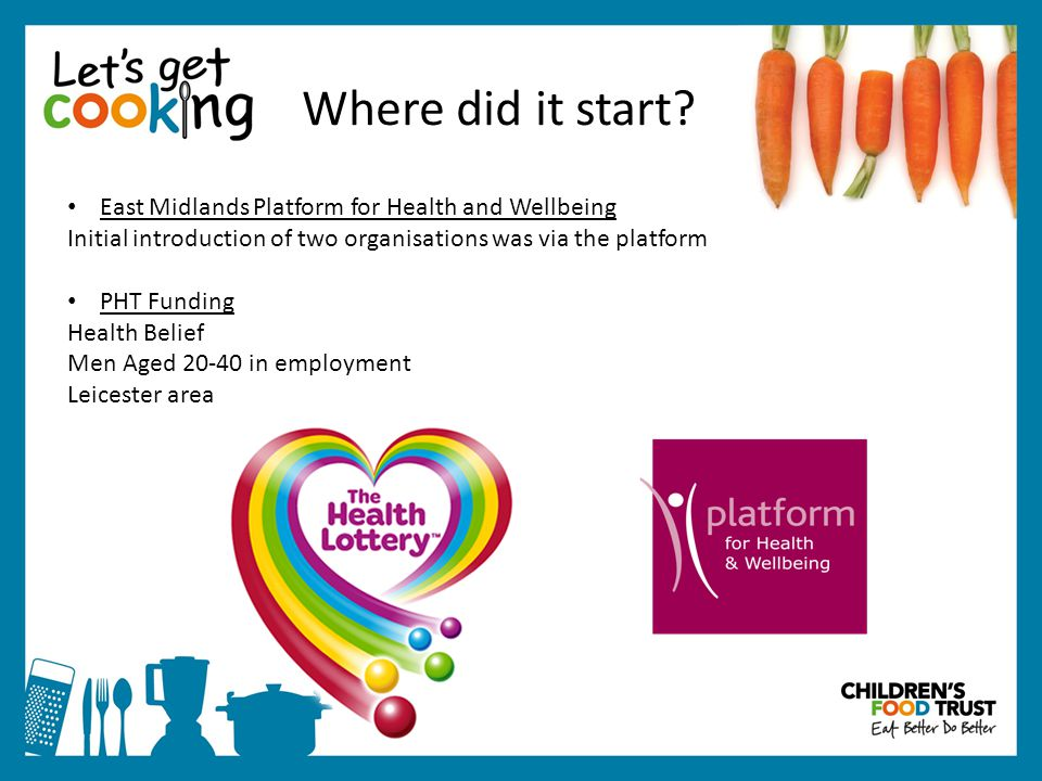 East Midlands Platform for Health and Wellbeing Initial introduction of two organisations was via the platform PHT Funding Health Belief Men Aged 20-40 in employment Leicester area Where did it start