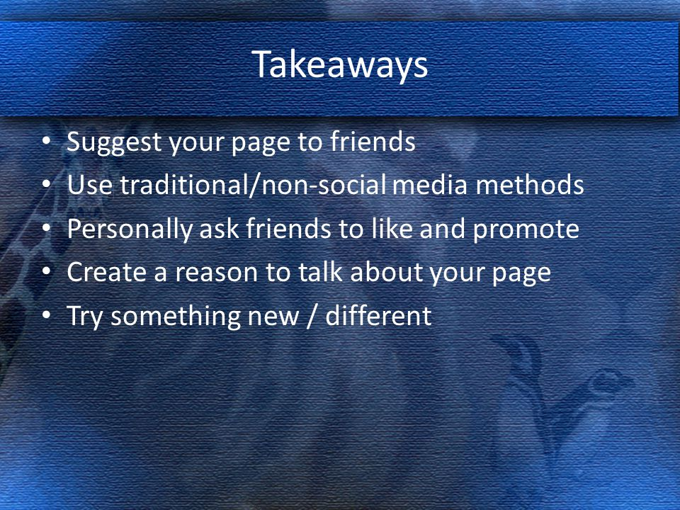 Takeaways Suggest your page to friends Use traditional/non-social media methods Personally ask friends to like and promote Create a reason to talk about your page Try something new / different
