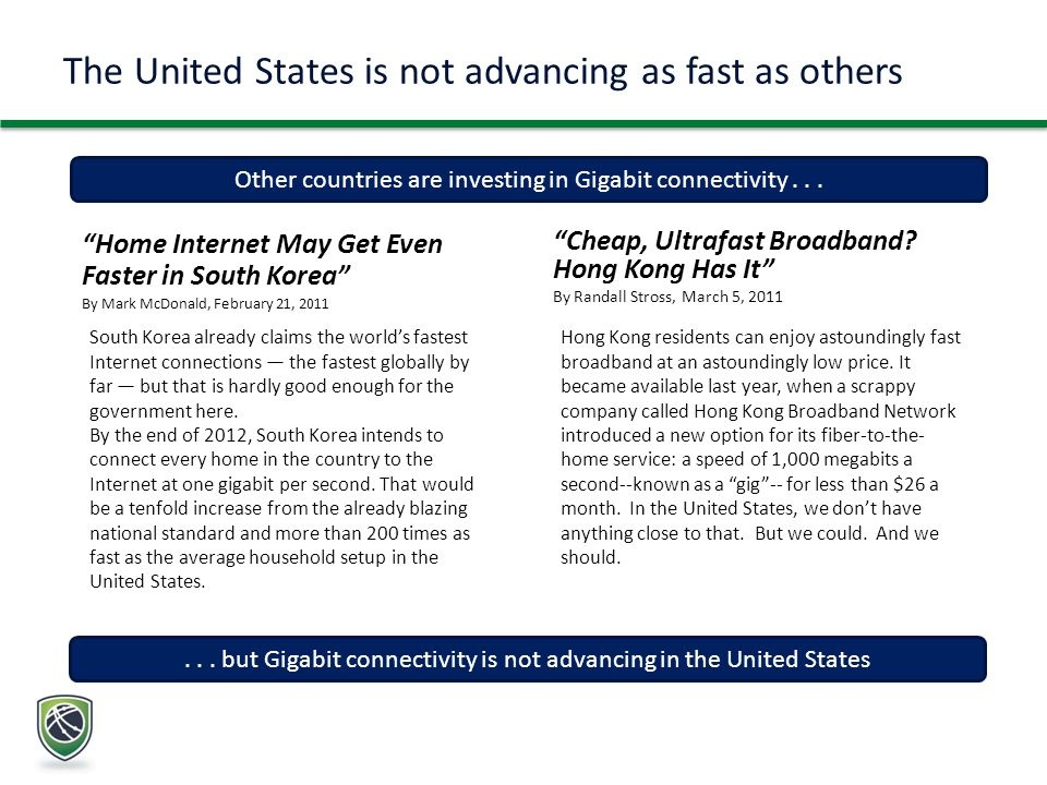 The United States is not advancing as fast as others Home Internet May Get Even Faster in South Korea By Mark McDonald, February 21, 2011 Other countries are investing in Gigabit connectivity...