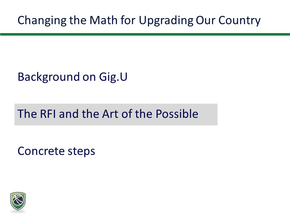 Background on Gig.U The RFI and the Art of the Possible Concrete steps Changing the Math for Upgrading Our Country