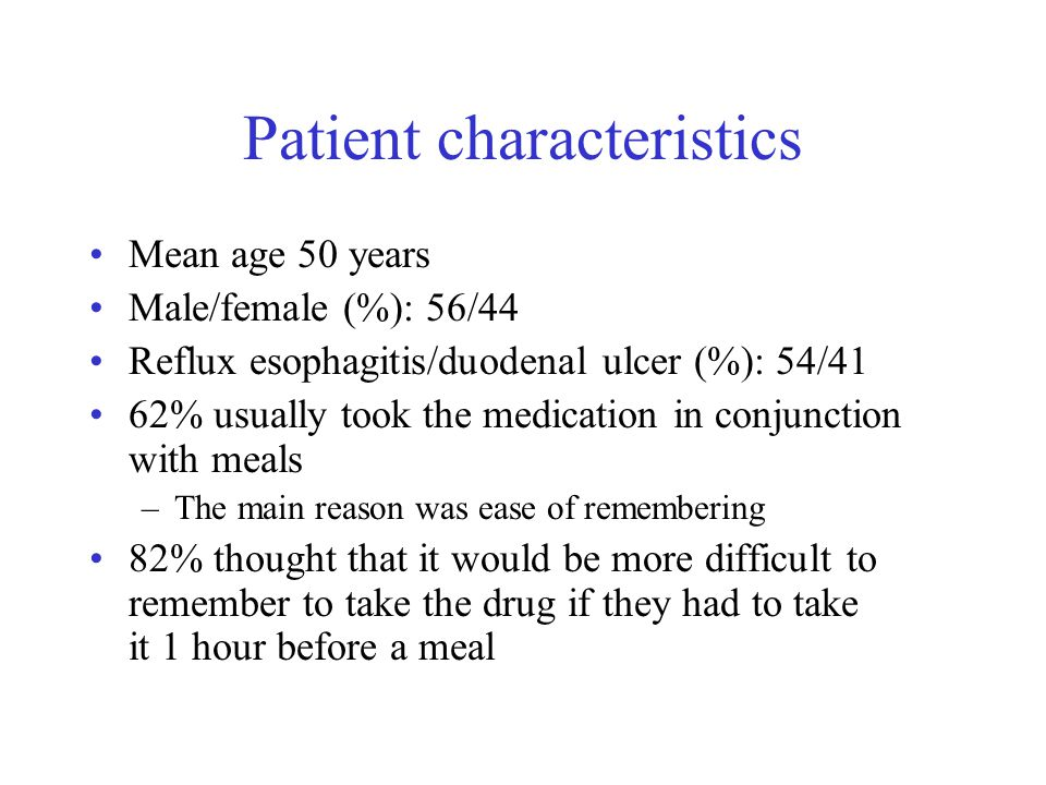 Patient characteristics Mean age 50 years Male/female (%): 56/44 Reflux esophagitis/duodenal ulcer (%): 54/41 62% usually took the medication in conjunction with meals –The main reason was ease of remembering 82% thought that it would be more difficult to remember to take the drug if they had to take it 1 hour before a meal