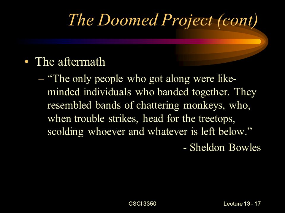 CSCI 3350Lecture 13 - 17 The Doomed Project (cont) The aftermath – The only people who got along were like- minded individuals who banded together.