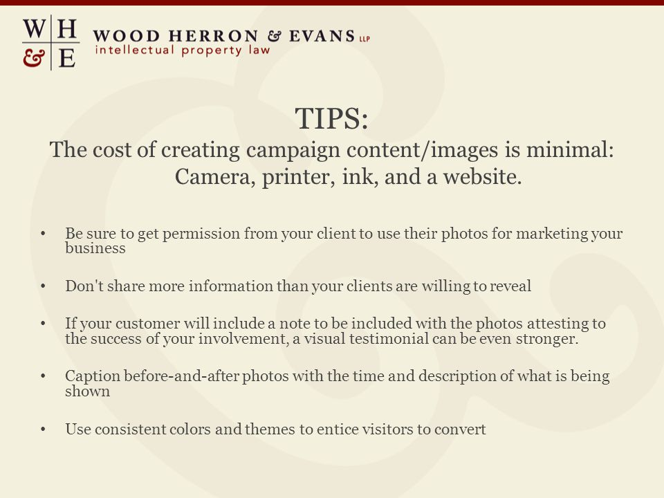 TIPS: The cost of creating campaign content/images is minimal: Camera, printer, ink, and a website.