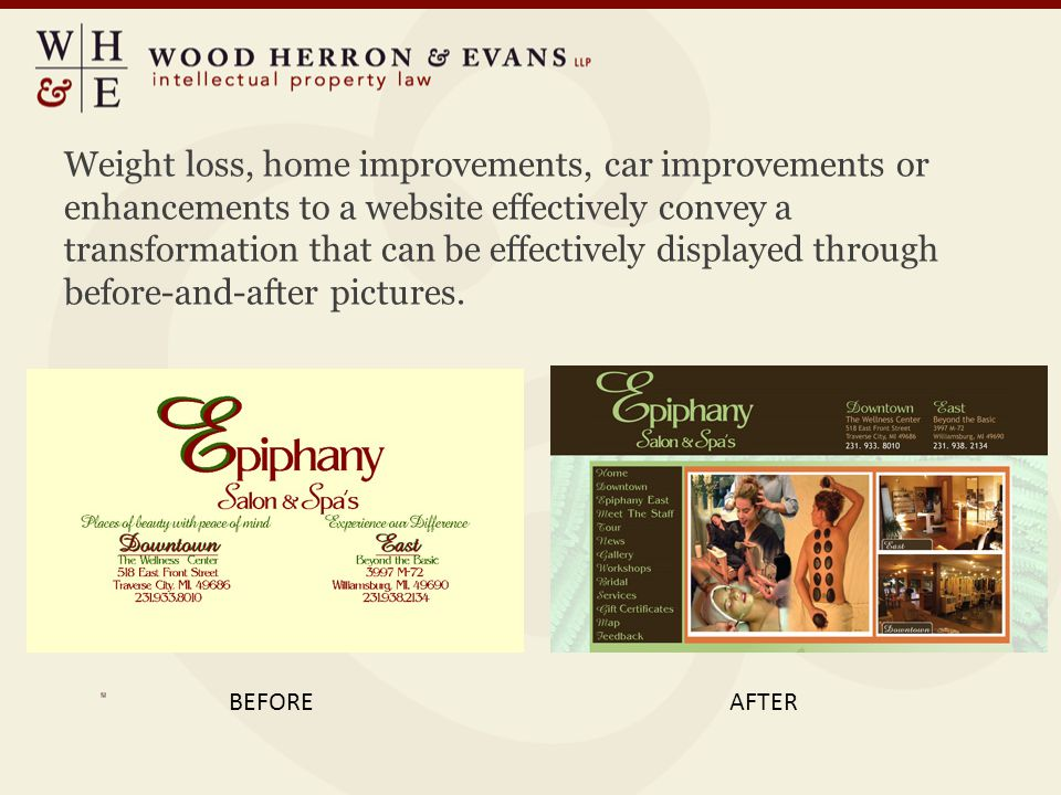 Weight loss, home improvements, car improvements or enhancements to a website effectively convey a transformation that can be effectively displayed th
