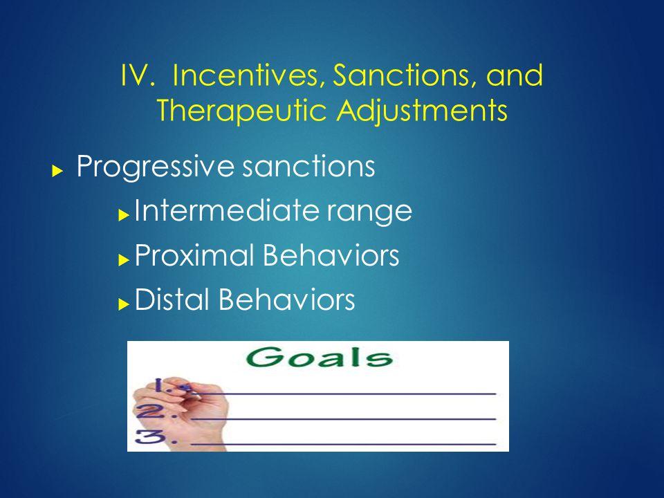  Progressive sanctions  Intermediate range  Proximal Behaviors  Distal Behaviors IV.