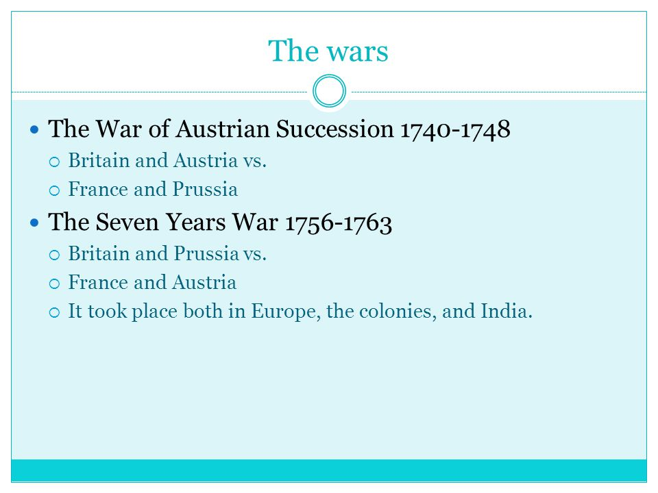 The wars The War of Austrian Succession 1740-1748  Britain and Austria vs.