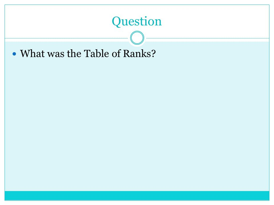 Question What was the Table of Ranks