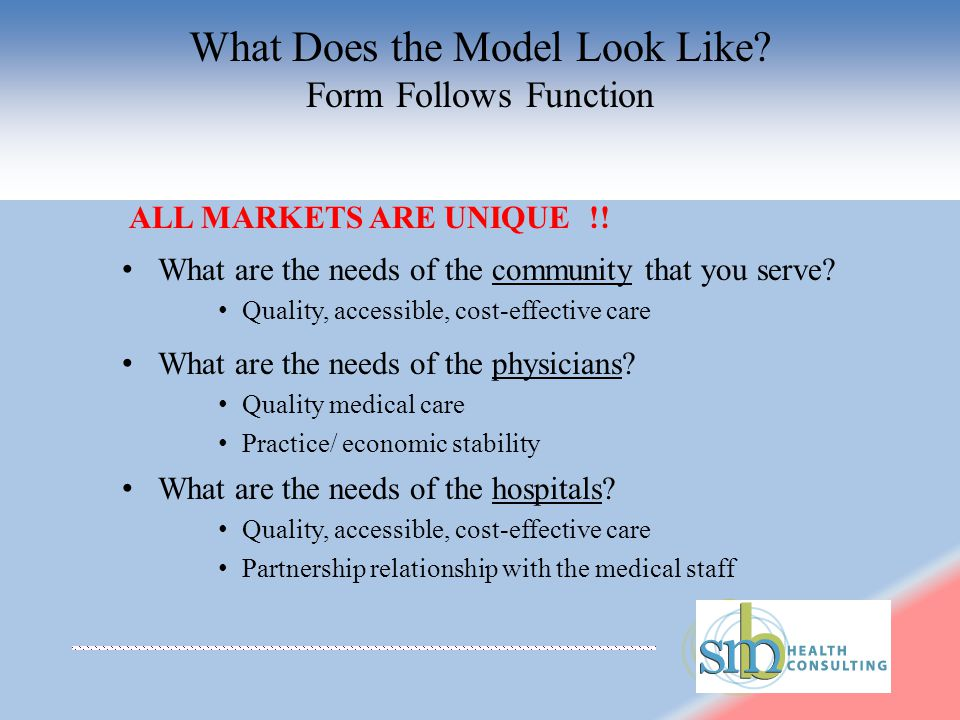 What Does the Model Look Like. Form Follows Function ALL MARKETS ARE UNIQUE !.