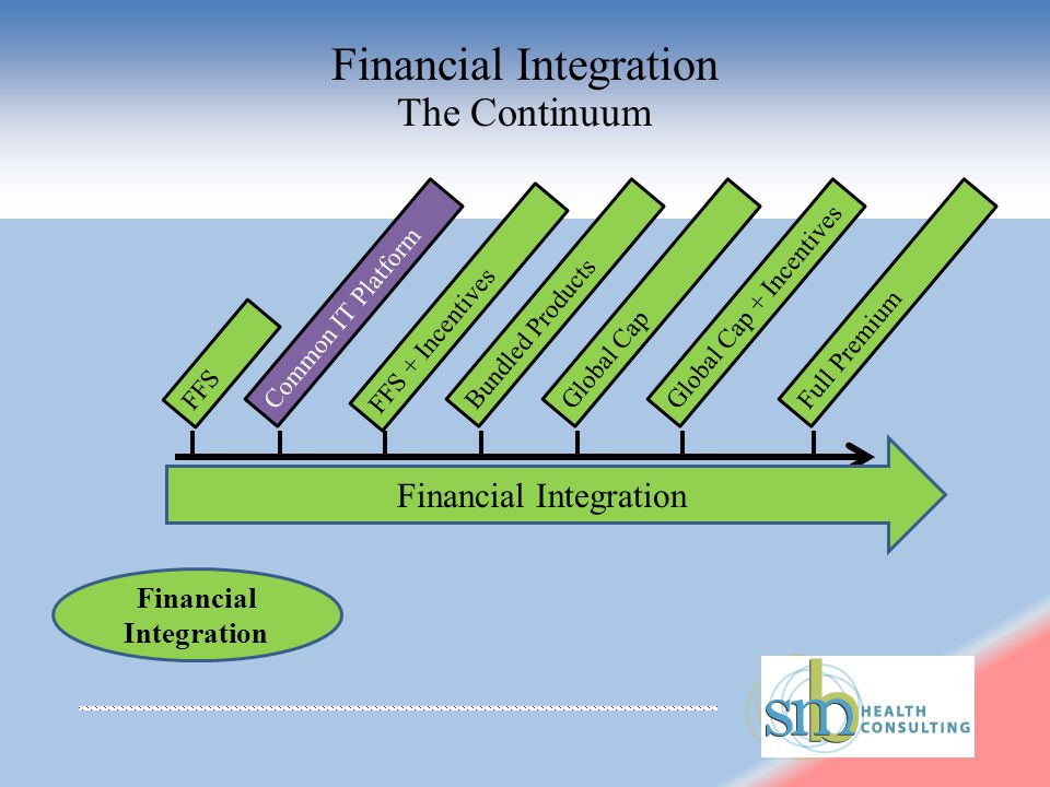 Financial Integration FFS Common IT Platform FFS + Incentives Bundled ProductsGlobal CapGlobal Cap + IncentivesFull Premium Financial Integration The Continuum Financial Integration