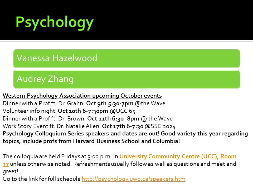 Vanessa HazelwoodAudrey Zhang Western Psychology Association upcoming October events Dinner with a Prof ft.