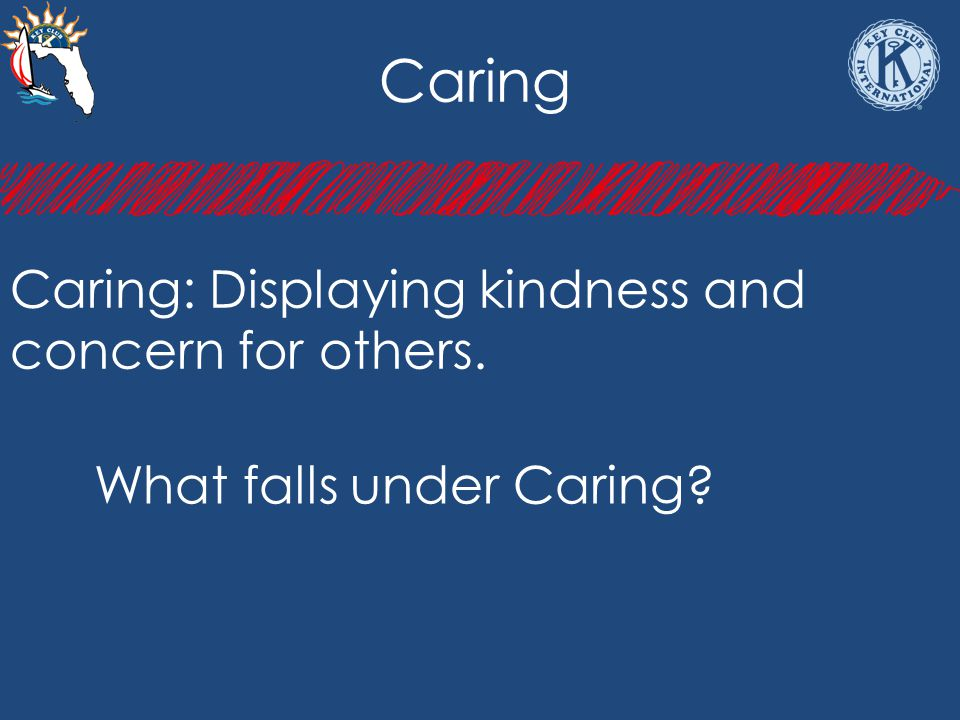 Caring Caring: Displaying kindness and concern for others. What falls under Caring?
