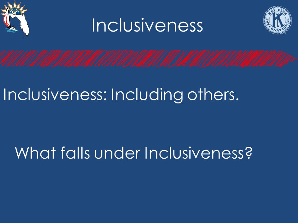 Inclusiveness Inclusiveness: Including others. What falls under Inclusiveness?
