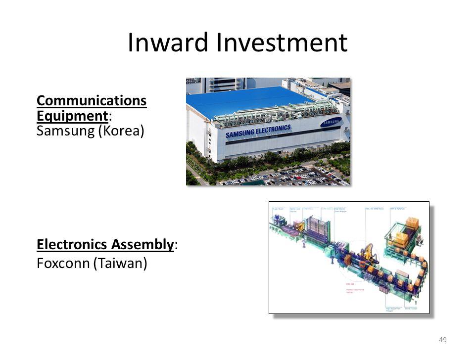 Inward Investment Communications Equipment: Samsung (Korea) Electronics Assembly: Foxconn (Taiwan) 49