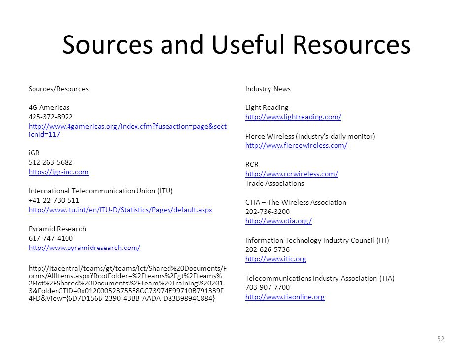 Sources and Useful Resources Sources/Resources 4G Americas 425-372-8922 http://www.4gamericas.org/index.cfm?fuseaction=page&sect ionid=117 iGR 512 263