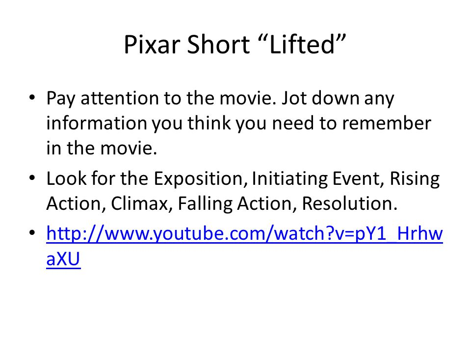 Pixar Short Lifted Pay attention to the movie.