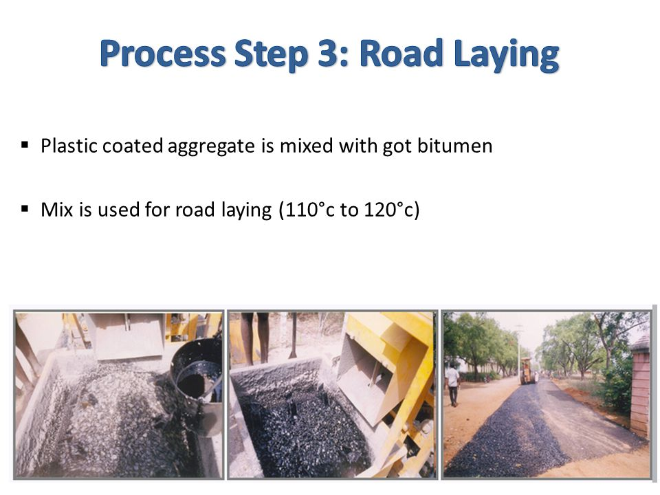  Plastic coated aggregate is mixed with got bitumen  Mix is used for road laying (110°c to 120°c)