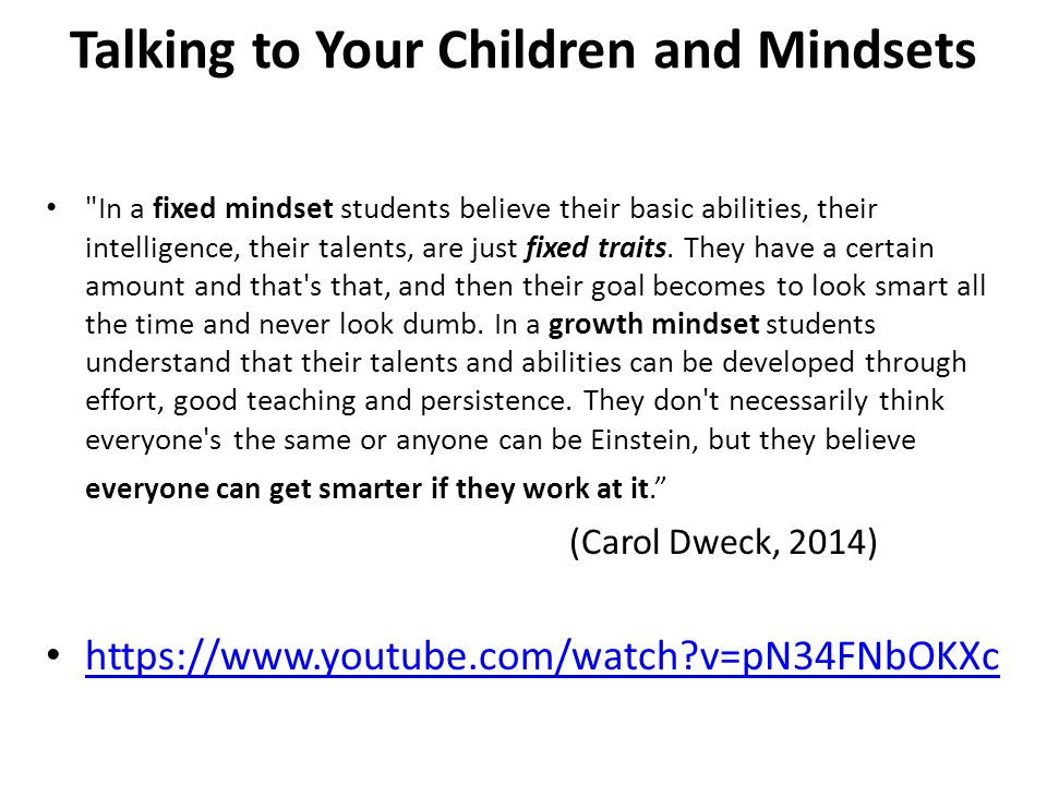 Talking to Your Children and Mindsets