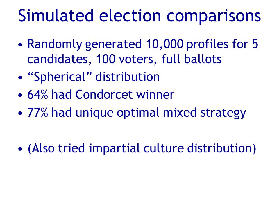 Simulated election comparisons Randomly generated 10,000 profiles for 5 candidates, 100 voters, full ballots Spherical distribution 64% had Condorcet winner 77% had unique optimal mixed strategy (Also tried impartial culture distribution)