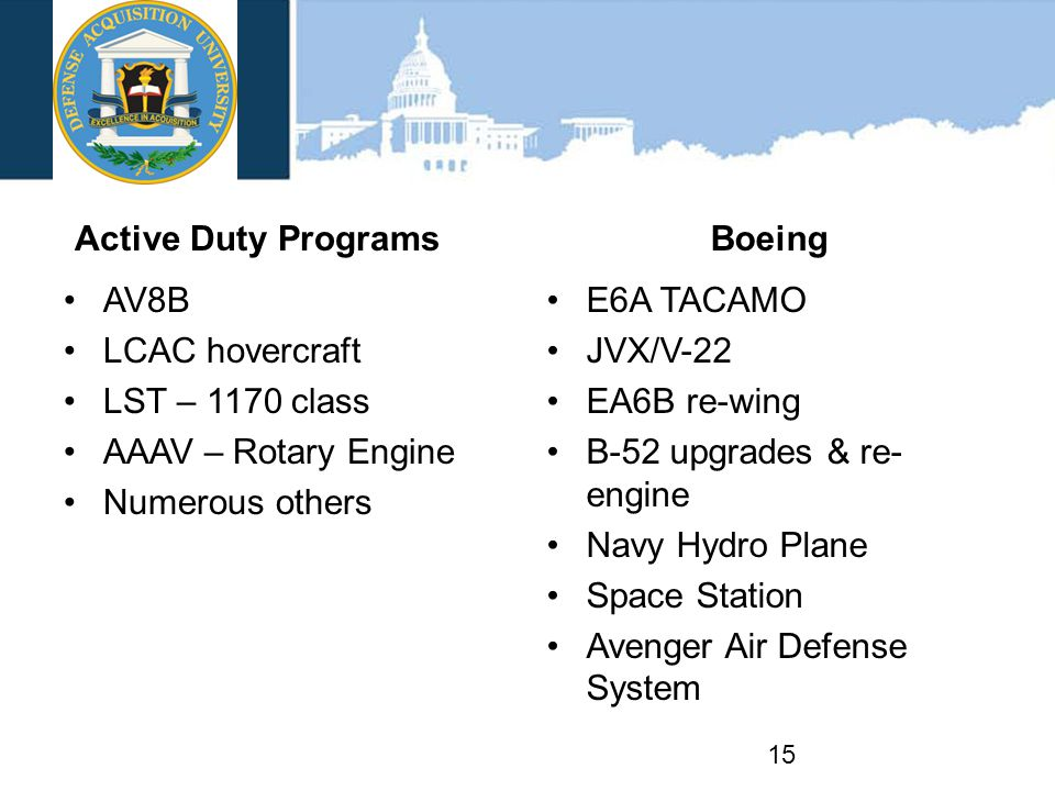 Active Duty Programs AV8B LCAC hovercraft LST – 1170 class AAAV – Rotary Engine Numerous others Boeing E6A TACAMO JVX/V-22 EA6B re-wing B-52 upgrades & re- engine Navy Hydro Plane Space Station Avenger Air Defense System 15