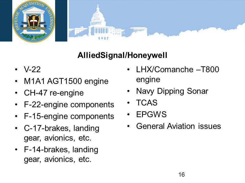 AlliedSignal/Honeywell V-22 M1A1 AGT1500 engine CH-47 re-engine F-22-engine components F-15-engine components C-17-brakes, landing gear, avionics, etc.