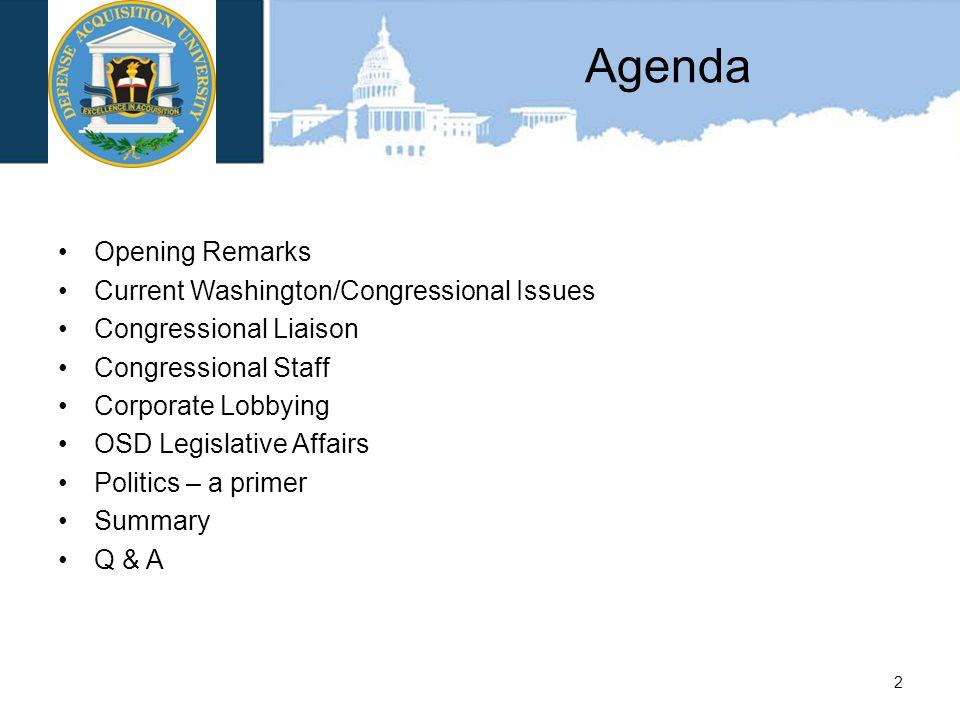 Agenda Opening Remarks Current Washington/Congressional Issues Congressional Liaison Congressional Staff Corporate Lobbying OSD Legislative Affairs Politics – a primer Summary Q & A 2