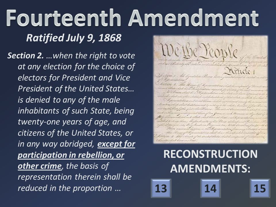 Section 2. …when the right to vote at any election for the choice of electors for President and Vice President of the United States… is denied to any