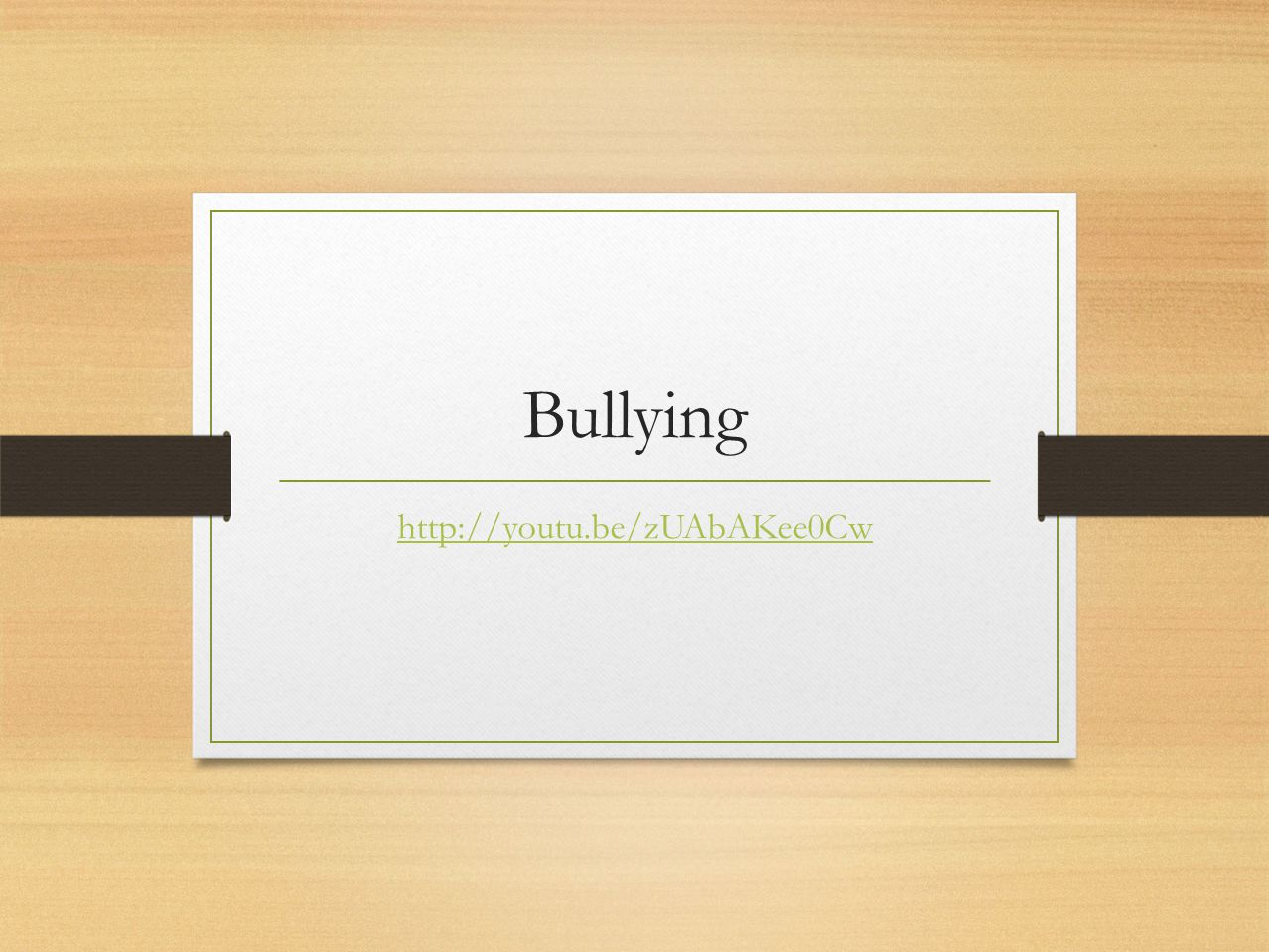 Bullying http://youtu.be/zUAbAKee0Cw