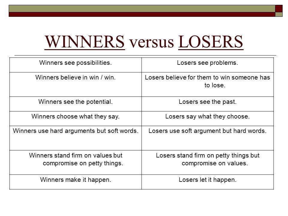 Ten Qualities of a Total Winner QualitiesWinners Self-talkLosers Say Attitude Qualities 1.