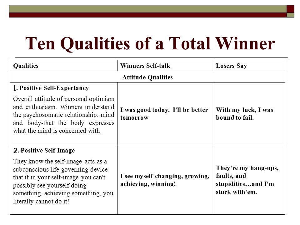 QualitiesWinners Self-talkLosers Say Attitude Qualities 3.