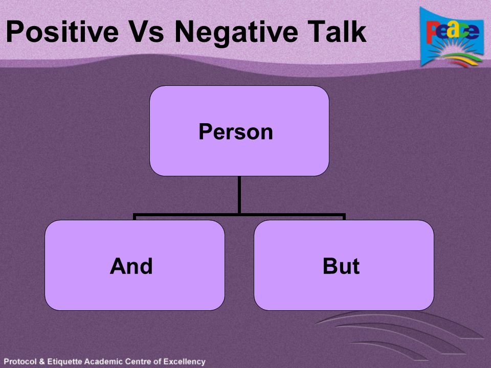 Positive Vs Negative Talk Person AndBut