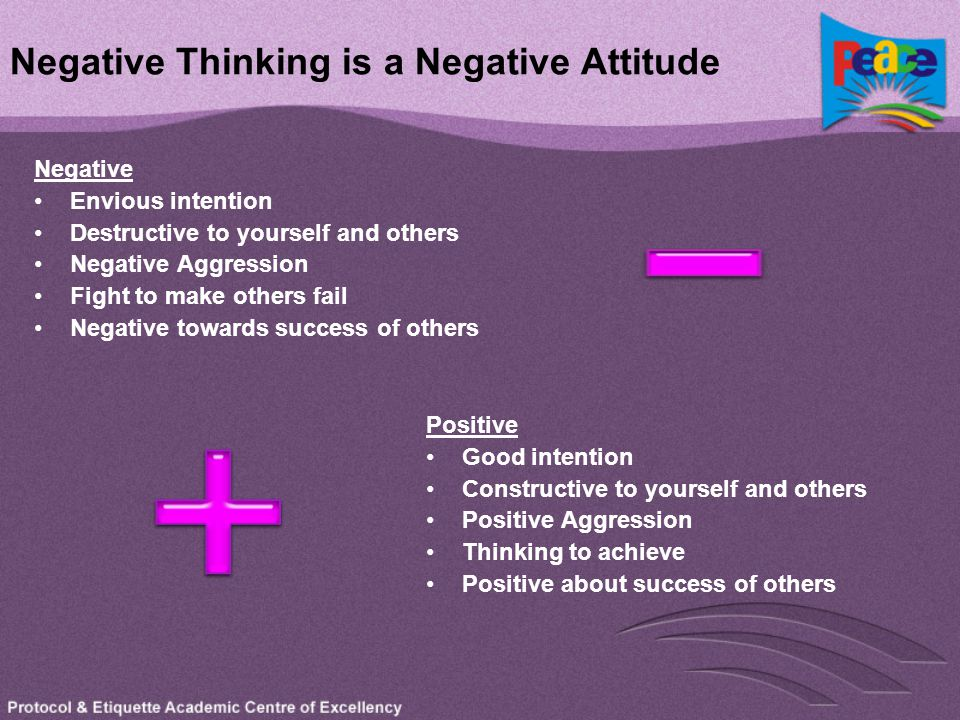 Negative Thinking is a Negative Attitude Negative Envious intention Destructive to yourself and others Negative Aggression Fight to make others fail N