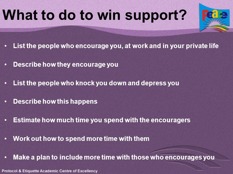 What to do to win support? List the people who encourage you, at work and in your private life Describe how they encourage you List the people who kno