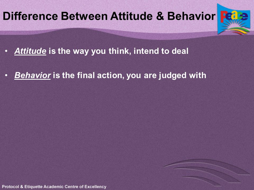 Difference Between Attitude & Behavior Attitude is the way you think, intend to deal Behavior is the final action, you are judged with