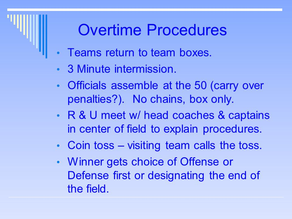Overtime Procedures Teams return to team boxes. 3 Minute intermission.