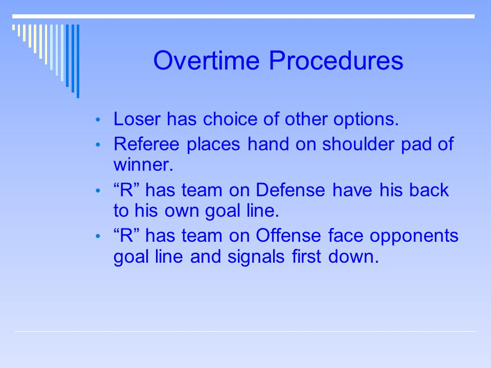 "Overtime Procedures Loser has choice of other options. Referee places hand on shoulder pad of winner. ""R"" has team on Defense have his back to his own"
