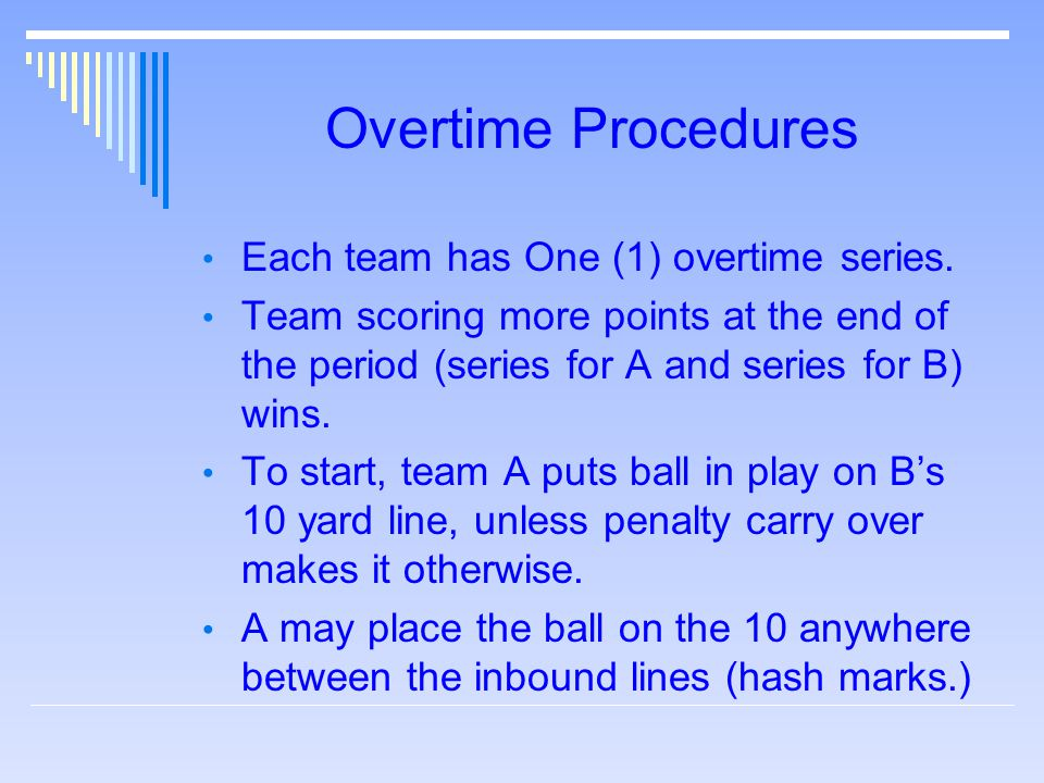 Overtime Procedures Each team has One (1) overtime series. Team scoring more points at the end of the period (series for A and series for B) wins. To