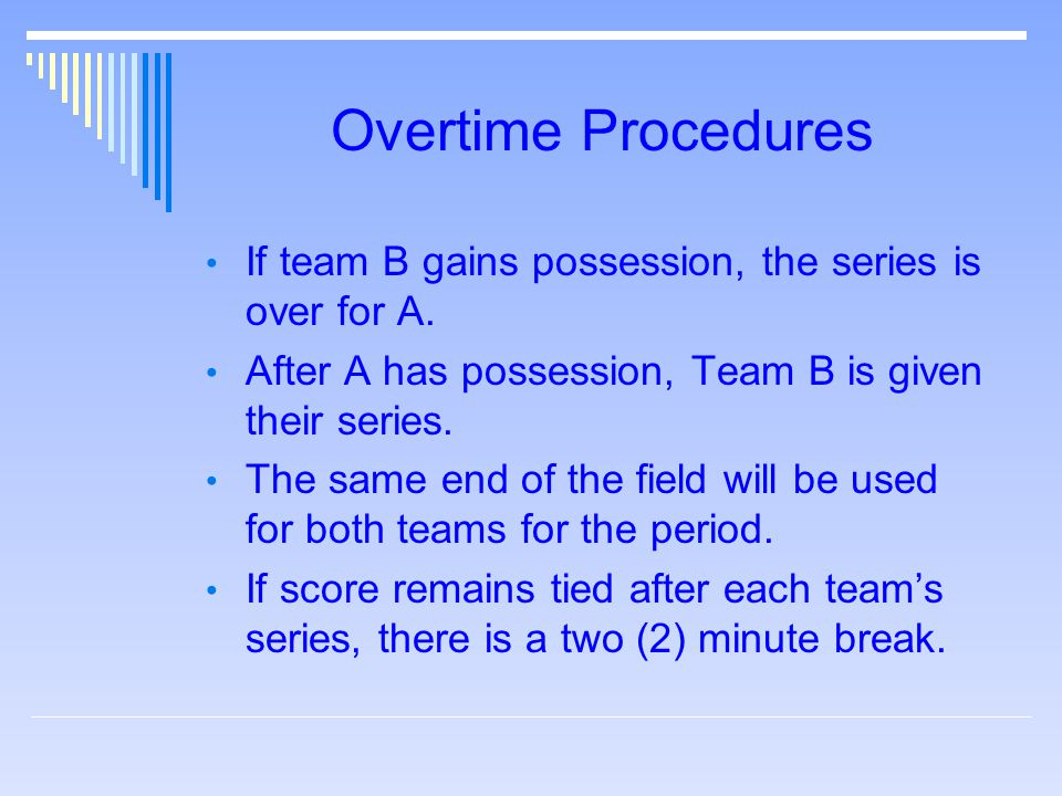 Overtime Procedures If team B gains possession, the series is over for A.