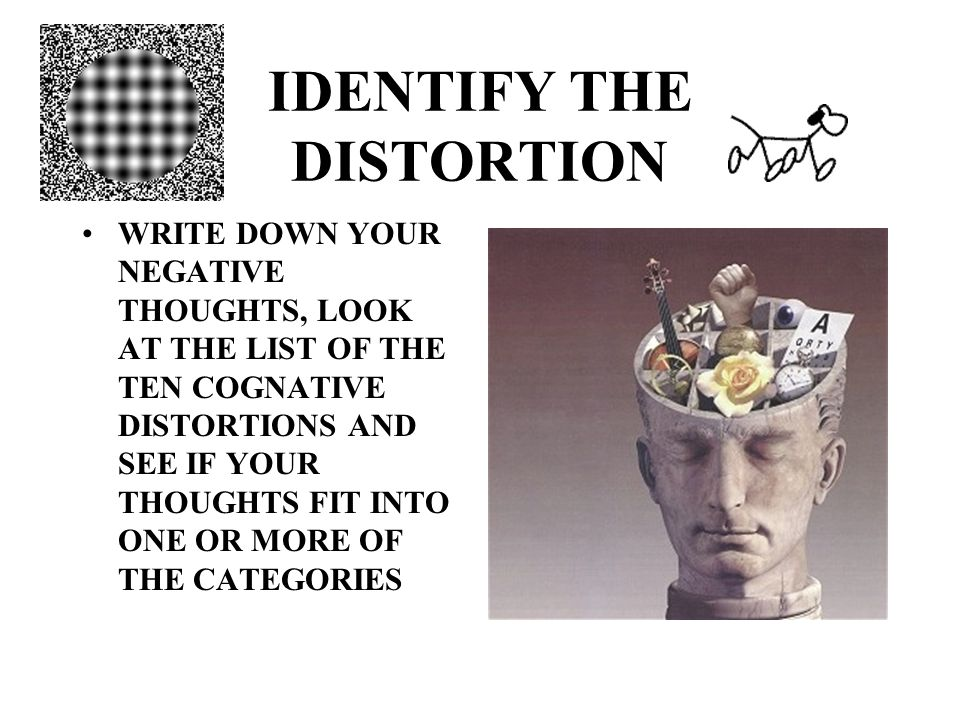 IDENTIFY THE DISTORTION WRITE DOWN YOUR NEGATIVE THOUGHTS, LOOK AT THE LIST OF THE TEN COGNATIVE DISTORTIONS AND SEE IF YOUR THOUGHTS FIT INTO ONE OR MORE OF THE CATEGORIES