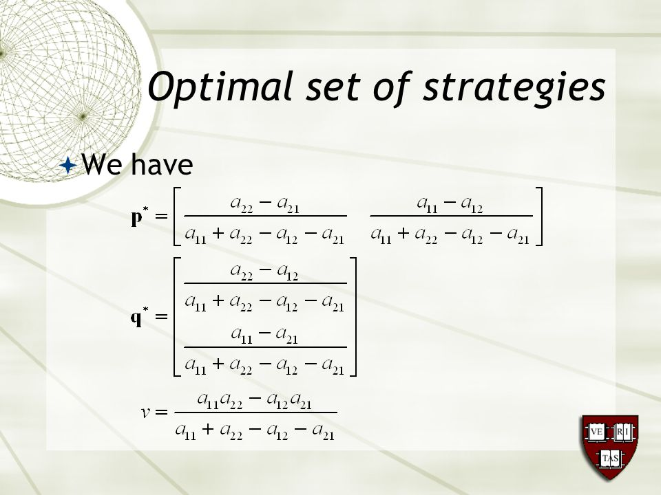 Optimal set of strategies  We have